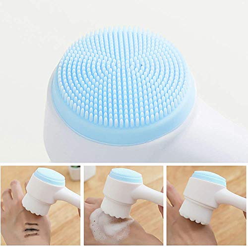 2-in-1 facial cleansing brush, silicone manual cleansing brush, deep cleansing skin keratin cleaning system, super soft massage pores, suitable for all types of skin (blue)-