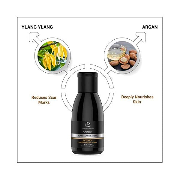 The Man Company Activated Charcoal Face Wash for Men   Ylang Ylang & Argan Essential Oils   Anti Pollution, Acne Oil… 2021 July Unclogs Pores: Don't let dirt and grime settle in your pores. With the deep cleansing action of Charcoal, you need not worry about tired and lifeless skin. Removes Dead Skin Cells: Charcoal enhanced with the regenerative properties of Argan, helps to remove dead skin cells which tend to accumulate over time causing your face to look very dull. Helps In Getting Rid Of Pimples: Charcoal keeps excess oil from the skin at bay. It takes away dirt, harmful bacteria and impurities accumulated on the face to reveal revitalised skin.