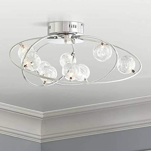 Possini Euro Design Four - New Orbit Modern Ceiling Light Flush Mount Fixture Chrome 23 3/4