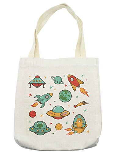 Lunarable Kids Tote Bag, Outer Space Rocket Space Ship UFO Planets Alien Earth Saturn Galaxy, Cloth Linen Reusable Bag for Shopping Groceries Books Beach Travel & More, -