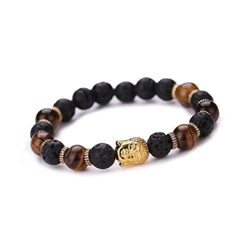 Buddha Elastic Beaded Bracelet Chain Bracelet Charm Bracelets Jewelry Punk HipHOP Women Men Chinese Style Besooly (Gold) (American Bracelet Pearl Pearl)