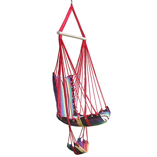 Hi Suyi New Lounging Hanging Rope Hammock Swing Chair for Indoor or Outdoor Garden Patio Yard Bedroom With Foot Rest and Wooden Bar By by Hi Suyi