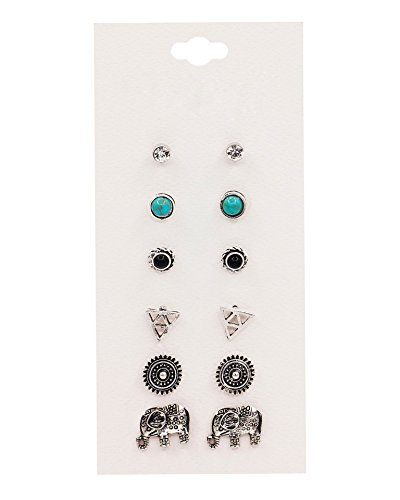 Boosic 6 Pair Pack Assorted Multiple Boho Turquoise Elephant Stud Earrings Sets For Women