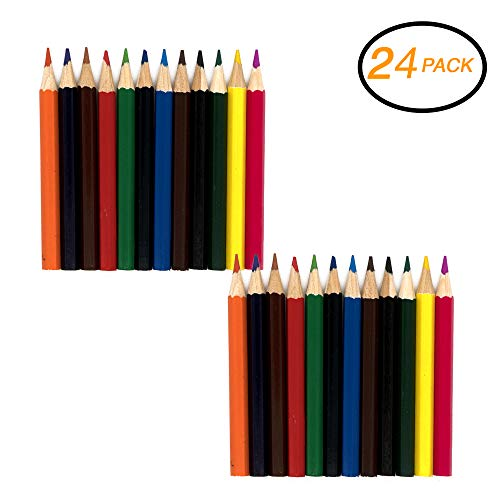 (Emraw Super Great Mini Colored Pencil Set Pre-Sharped Coloring pencil for Drawing, Coloring, Sketching, Shading, Detailing & Blending- 12 Per Pack (Pack of 2))