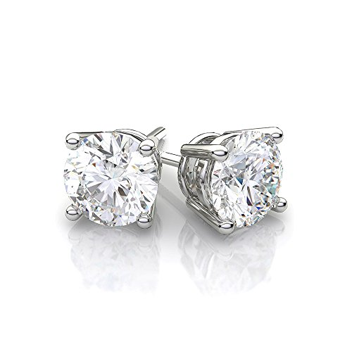 Cate & Chloe Mia Diamond-Simulated Stud Earrings, CZ Stud Earrings, Round CZ Studs, Crystal Earrings, Classic Studs, Best Earrings for Women (1CT Sterling Silver with Rhodium Plating)