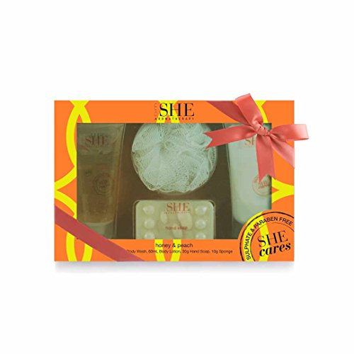 Price comparison product image OM She Aromatherapy Pamper Pack Honey & Peach – Includes Body Wash, Body Lotion, Soap and Sponge - Vegan Friendly – Paraben Free – Sulfate Free – Cruelty Free – Made in Australia
