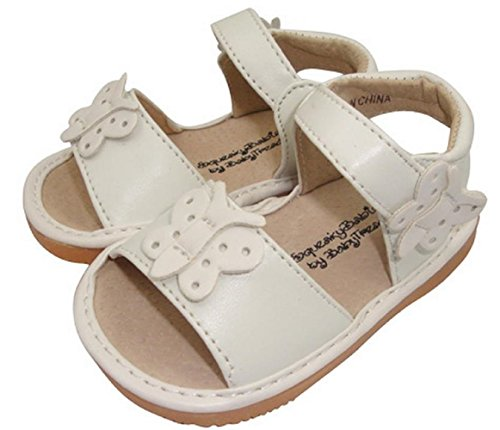 (Jiazibb Baby Girls Velcro Leather Butterfly Squeaky Toddler First Walkers Shoes Sandals (# 2 / Insole Length:120mm, White) )