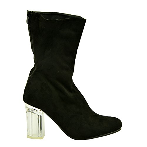 8 Boots Heels Womens 4 Ladies Ankle Shiny Clear 3 UK Mid High Block Black Size 6 New Girls 5 Cucu Suede Fashion Calf Perspex Shoes 7 qPwEIgg