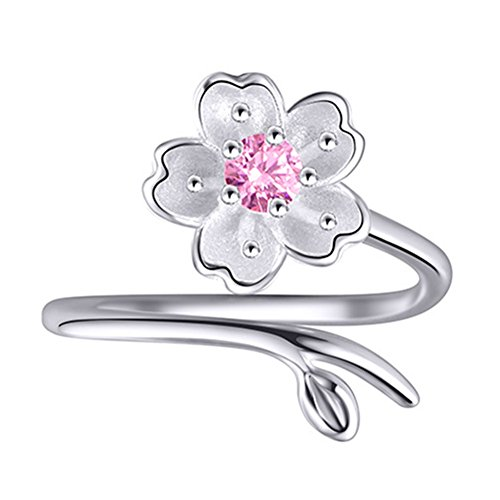 S925 Sterling Silver CZ Cherry blossom Flower Purple Amethyst Women Open Band Ring,adjustable