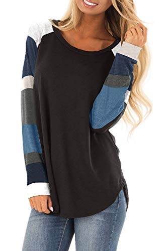 Womens Casual Tunic Sweatshirt Tops Color Block Long Sleeve Jersey T Shirt Pullovers