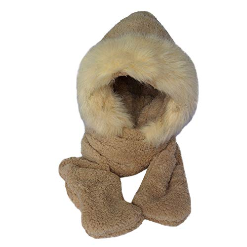 Quaanti Hat Scarf and Glove Set for Women Ladies Faux Fur Winter Warm Fluffy Hood Snood Pocket (Coffee)