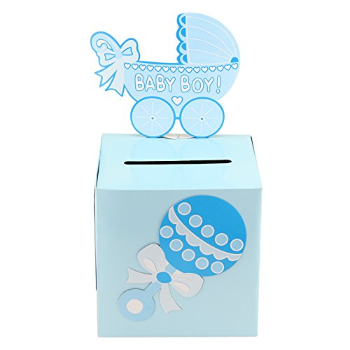 Tytroy Baby Shower Wishing Well Card Box Cute Decoration Rattle Pretty Keepsake Carriage (Blue) (Well Gifts Shower Baby Wishing)