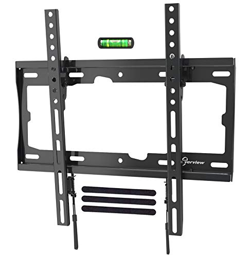 EVERVIEW TV Wall Mount Tilting Bracket Low Profile fits for Most 32-55 LED,LCD,OLED, Plasma Flat Screen TVs up to VESA 400 X 400mm,99lbs Loading Capacity with Bubble Level & Cable Ties ()
