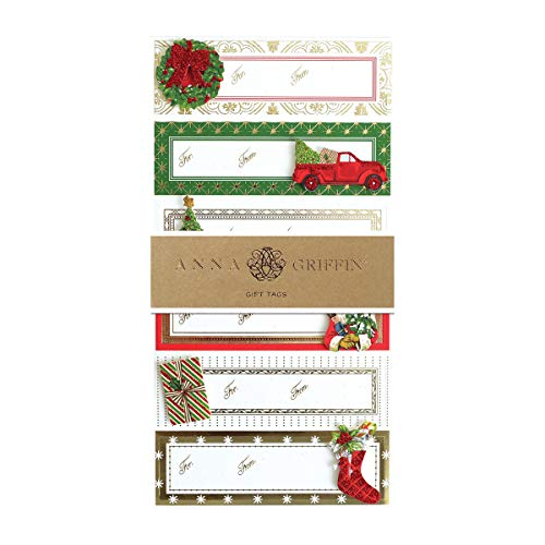 Anna Griffin Christmas Gift Tags Vintage Red Truck Decor Christmas Stickers Christmas Labels Mini Pop Up Cards 4″ x 1.25″ Pak 24