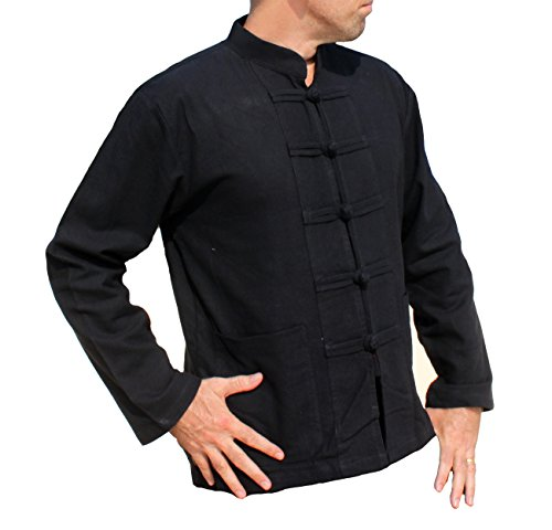 Cotton Mens Chinese Collar Shirt - RaanPahMuang Thick Muang Cotton Chinese Jacket Shirt Mandarin Frog Button Front, Medium, Black