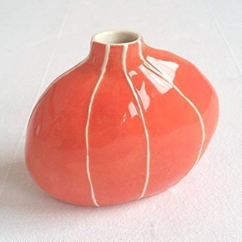VIT ceramics bud vase by Kri Kri Studio. Small round organic form. Coral red with raised white stripes. ()