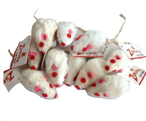 10 Realistic White Mice Cat Toys with Real Rabbit Fur by Zanies by Petedge