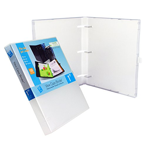 UniKeep 3 Ring Binder - White - Case View Binder - 1.0 Inch Spine - With Clear Outer Overlay - Box of 20 Binders