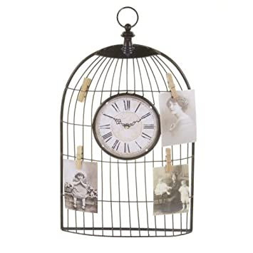 Birdcage Clock With Memento PegsBird Cage Style Clock Memo Board Amazing Birdcage Memo Board