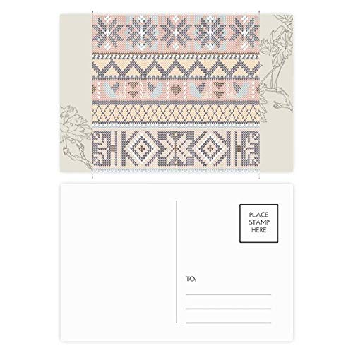 Rhombus Octagonal Triangle Pattern Flower Postcard Set Thanks Card Mailing Side 20pcs
