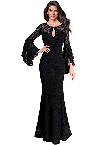(VFSHOW Womens Black Floral Lace Keyhole Front Ruffle Bell Sleeve Formal Evening Wedding Maxi Dress 2376 BLK M)