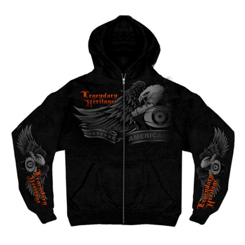 - Hot Leathers Ghost Eagle Zip Hoodie (Black, XX-Large)