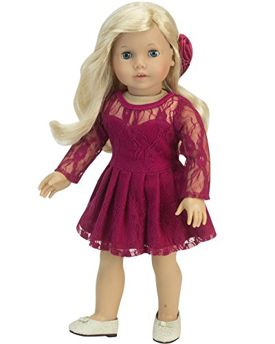 Sophia's 18 Inch Doll Clothes Outfit, 2 Pc. Elegant Berry Long-Sleeved Lace Doll Dress & Hair bow for your 18 Inch American Dolls Clothes & More! Berry Long Sleeve Lace Dress w/Hair bow