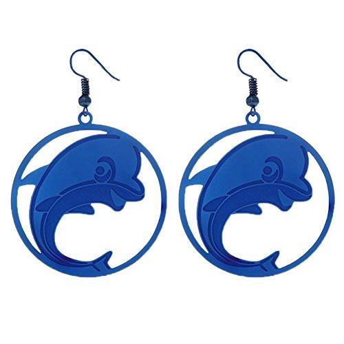 (ShiningLove Trendy Stainless Steel Round Shape Dolphin Dangle Earrings Charming Drop Earrings Women Jewelry Blue)