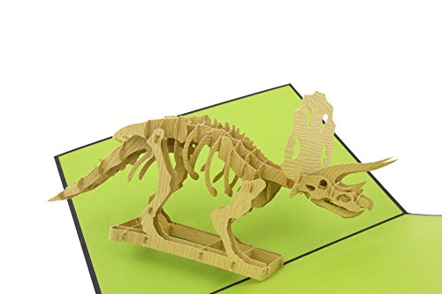 PopLife Triceratops Dinosaur Pop Up Card, 3D Card for All Occasions - Fossil Display