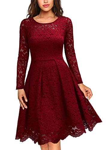 MISSMAY Women's Vintage Floral Lace Scoop Neck Cocktail Party Fit and Flare Dress, Large, Red