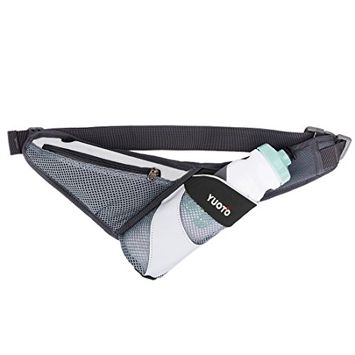 ion Belt with Single Water Bottle Holder Waist Pack for Maximum 27oz Water Bottle and iPhone 8 Plus Men Women Black ()