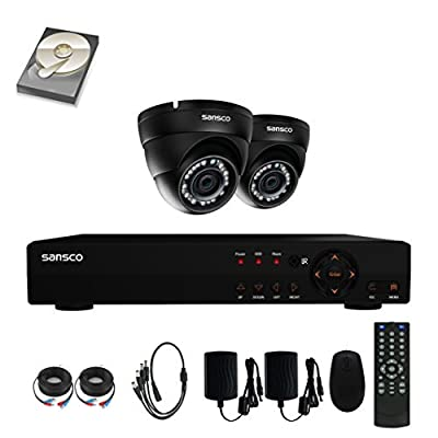 SANSCO 4-Channel 1080N DVR Recorder CCTV Security Systems with 2x Super HD 1MP Outdoor Cameras And 1TB Hard Drive