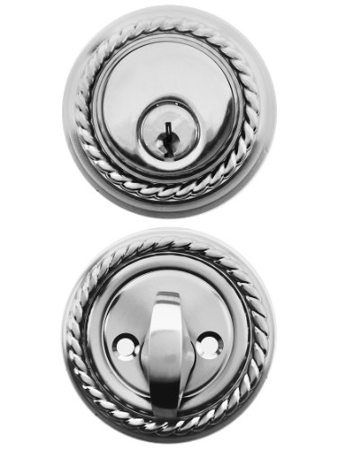 (Solid Brass Single Cylinder Rope Style Deadbolt Polished Chrome with 2 3/8