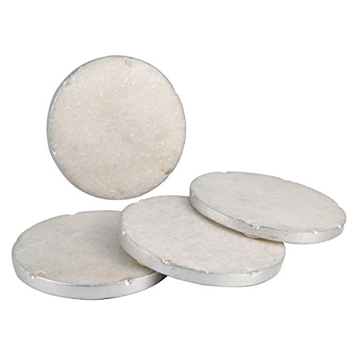 - Thirstystone NMCH001 Old Hollywood Round White Marble Coasters with Silver Tone Edge (Set of 4)