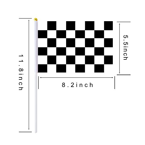 (Checkered Flag Racing Flag Small Mini Stick Flags,30 Pack Black & White Checkered Flag Racing Pennant Banner Flags,Race Car Party,Sport Events, Birthday,Celebration)