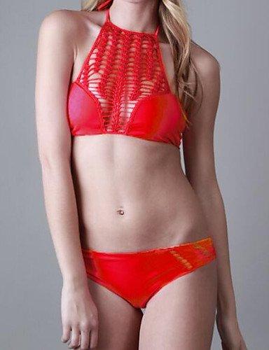 Damen Bikinis - Floral Push-Up Polyester Halfter , brown-l , brown-l