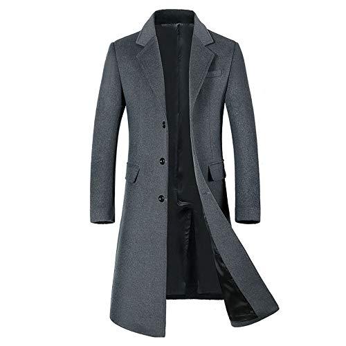 Clearance Men's Windbreaker,Realdo Mens Business Casual Wool Jacket Warm Winter Trench Long Outwear Overcoat(Large,Grey)]()