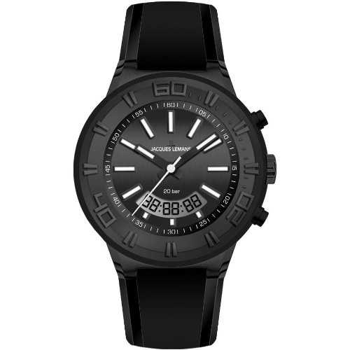 Jacques Lemans Miami 1-1786I 45mm Ion Plated Stainless Steel Case Silicone Mineral Men's & Women's Watch