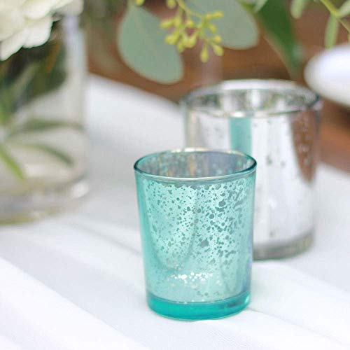 Just Artifacts Mercury Glass Votive Candle Holder 2.75'' H (72pcs, Speckled Aqua) - Mercury Glass Votive Tealight Candle Holders for Weddings, Parties and Home Décor by Just Artifacts (Image #2)