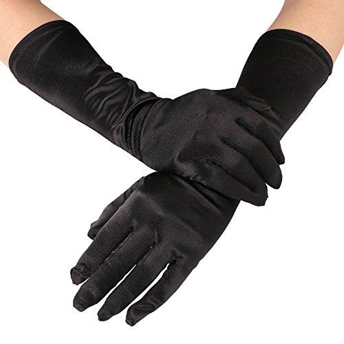 Elegant Women's Satin Elbow Length Opera / Prom Gloves, Black 15