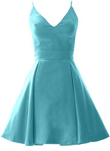 Macloth Élégante Fête De Mariage Robe De Retour À La Maison De Bal Mini Col V Turquoise Robe Formelle