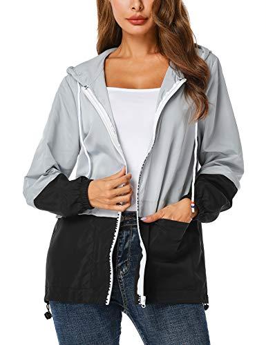 UUANG Women's Waterproof Raincoat Packable Active Outdoor Hooded Lightweight Rain Jacket Windbreaker Black,XXL