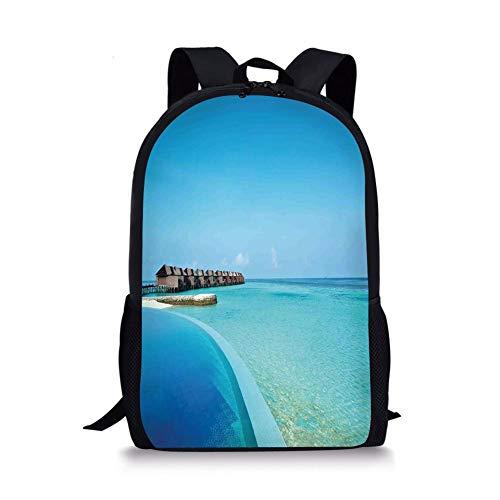 School Bags House Decor,Infinity Pool in the Maldives Bungalows Horizon Ocean Tropics Sky Honeymoon, for Boys&Girls Mens Sport Daypack ()