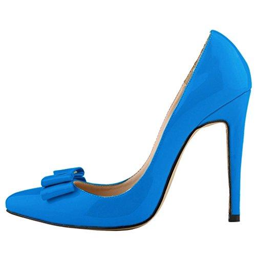 EKS - Merceditas de tacón alto Mujer Blau-Bowtie