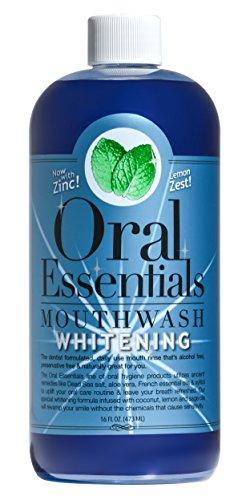 Essentials buccale dents blanchissant le rince-bouche 16 Oz. Pour une utilisation quotidienne sans sensibilité, sans peroxyde d'hydrogène, de bicarbonate de soude ou de produits chimiques agressifs utilise des huiles de coco & Sage. Dents plus blanche