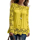Women Plus Size Hollow Out Lace Splice Long Sleeve Shirt Casual Blouse Loose Top(Yellow,Medium)