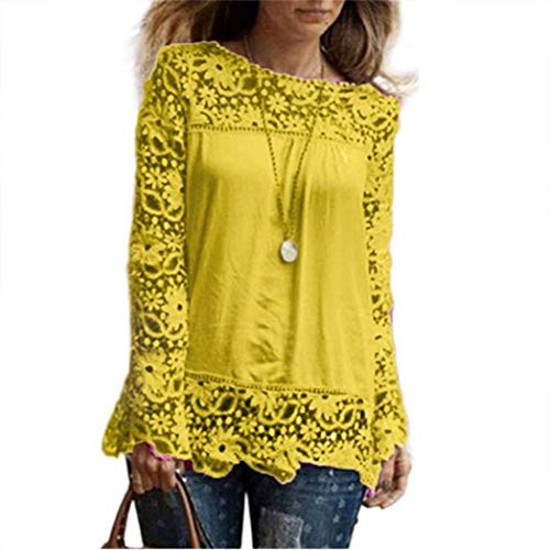 Women Plus Size Hollow Out Lace Splice Long Sleeve Shirt Casual Blouse Loose Top(Yellow,Small) by iQKA (Image #4)
