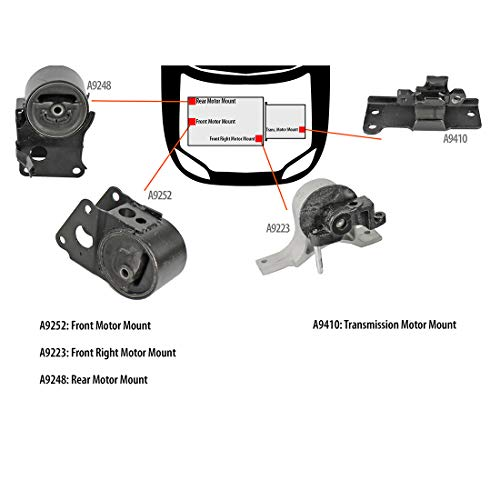 (DNJ MMK1012 Complete Engine Motor & Transmission Mount kit for 2004-2009 / Nissan/Altima, Maxima, Quest / 3.5L / Auto Trans/without Sensor)