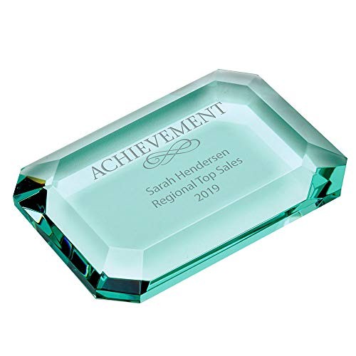 (Engraved Paperweight - Jade Glass - Award for Employees - Rectangle Shaped with Chiseled Details - Personalized Engraving Up To Three Lines and Pre-Written Verse Selection - Comes In Gift Box)