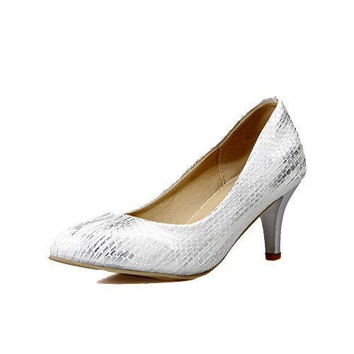 Kitten PU Pumps Closed on Solid Pull White WeenFashion Shoes Pointed Women's Toe Heels qHvwxnBE5